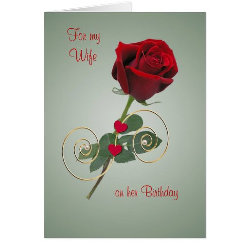 Romantic Rose And Heart - Birthday Card For Wife