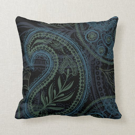 Romantic Turquoise Blue Amp Green Paisley Throw Pillow Zazzle