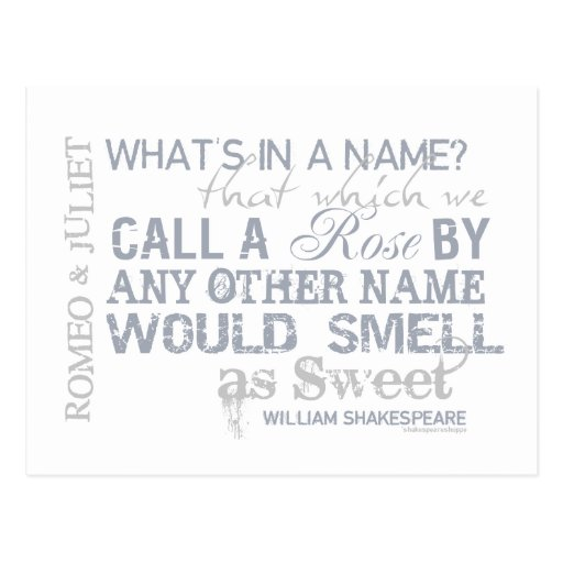 Quotes From Romeo And Juliet: Romeo & Juliet Name Quote Postcard