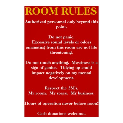 Room Rules Poster Zazzle