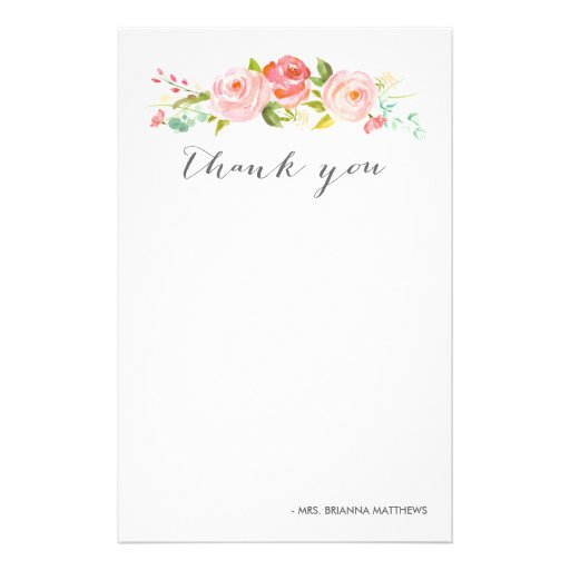 27 Personalized Stationery Templates: Rose Garden Floral Thank You Personalized Stationery