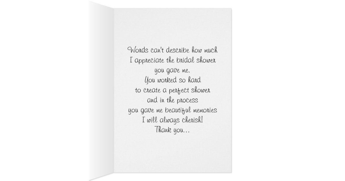 Wedding Shower Thank You Cards Wording