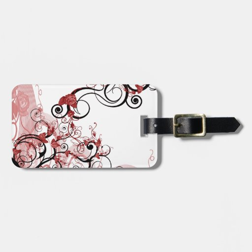 """The Deco Haus Tagged Color Red: """"Roses"""" Deco Art Luggage Tag"""