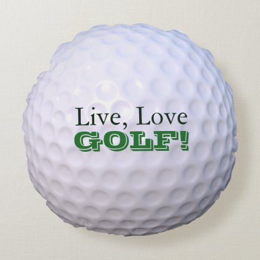 round throw pillow live love golf golfball zazzle. Black Bedroom Furniture Sets. Home Design Ideas