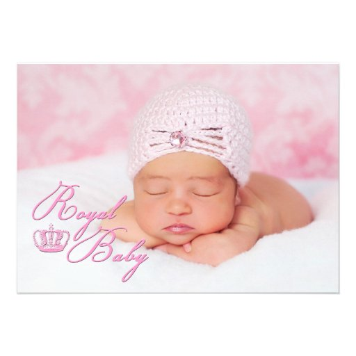 "Royal Baby Pink With Crown Birth Announcement 5"" X 7"