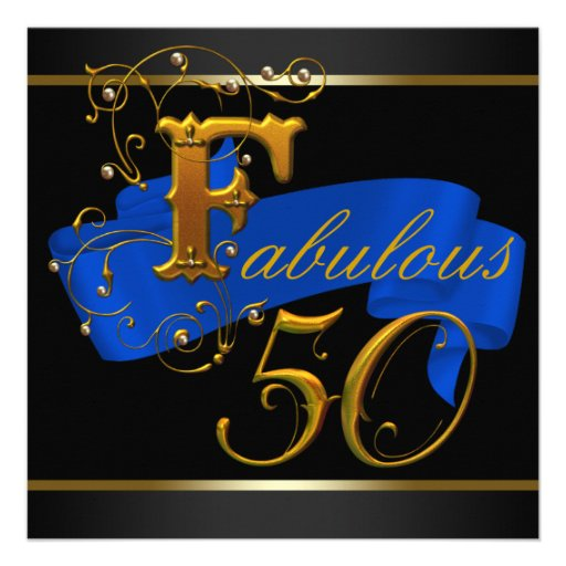 50 And Fabulous Text: Royal Blue And Gold Fabulous 50th Birthday Party 5.25x5.25
