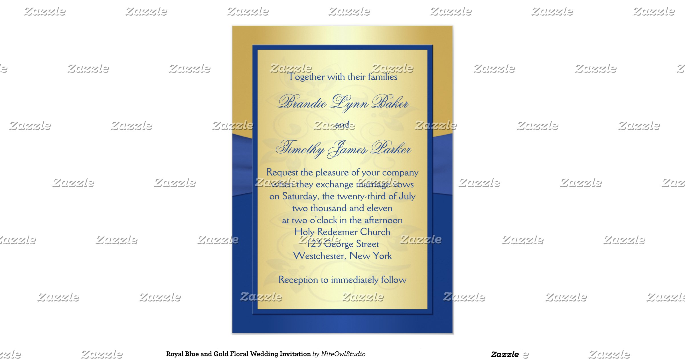Royal Blue And Gold Wedding Invitations