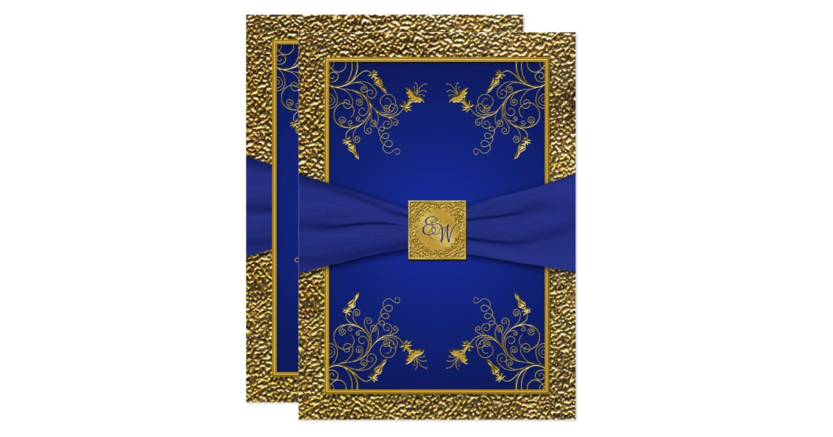Gold And Blue Wedding Invitations: Royal Blue And Gold Monogram Wedding Invitation