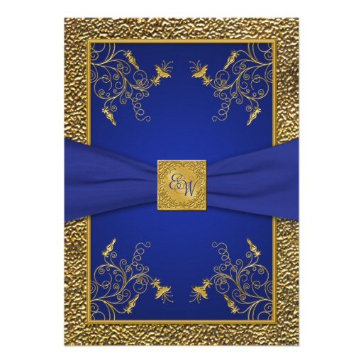 """Gold And Blue Wedding Invitations: Royal Blue And Gold Monogram Wedding Invitation 5"""" X 7"""