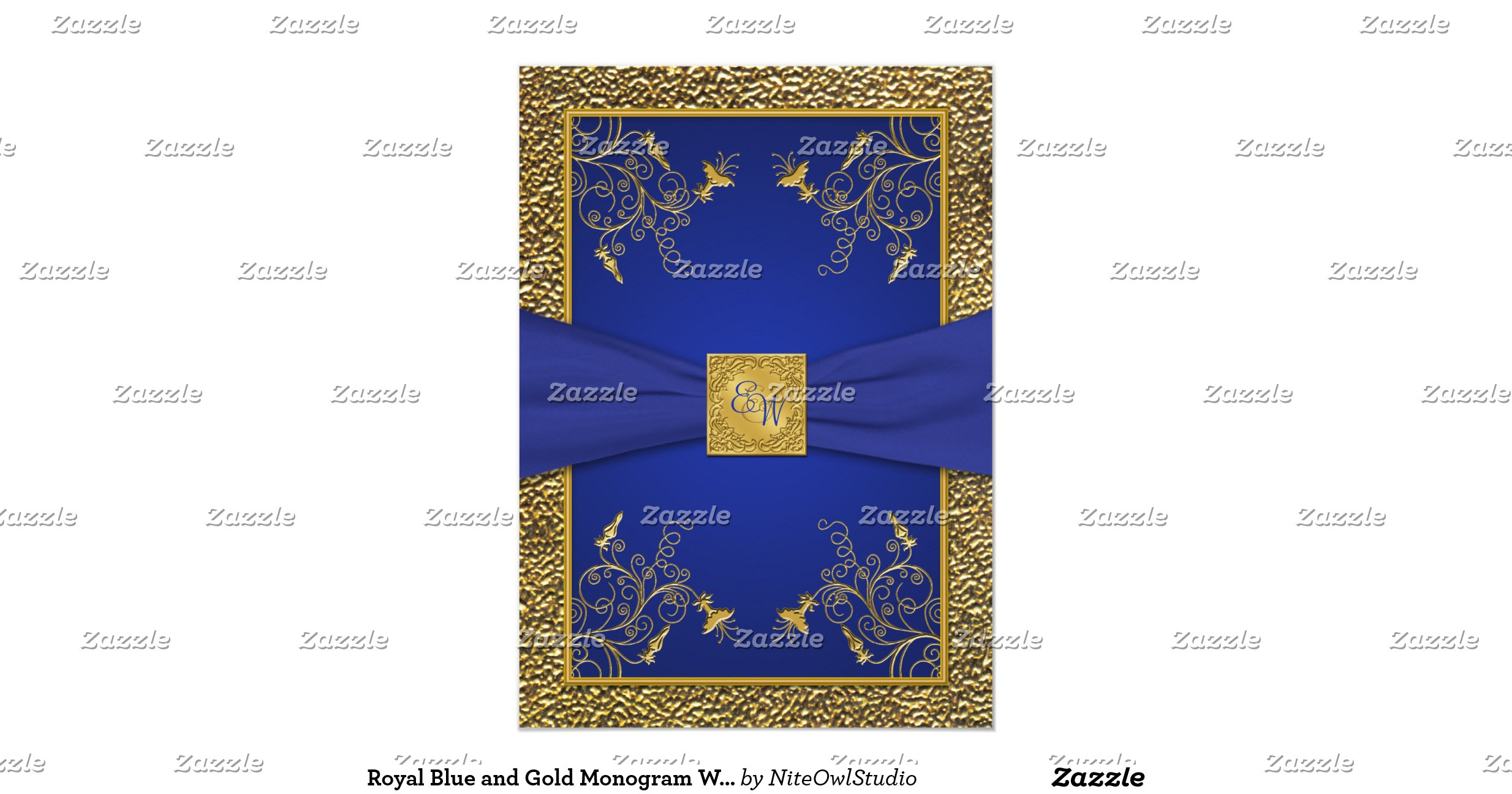 Royal Blue And Gold Wedding Invitations: Royal_blue_and_gold_monogram_wedding_invitation