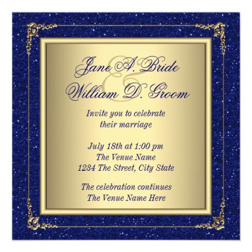 Gold And Blue Wedding Invitations: Royal Blue And Gold Wedding Invitations
