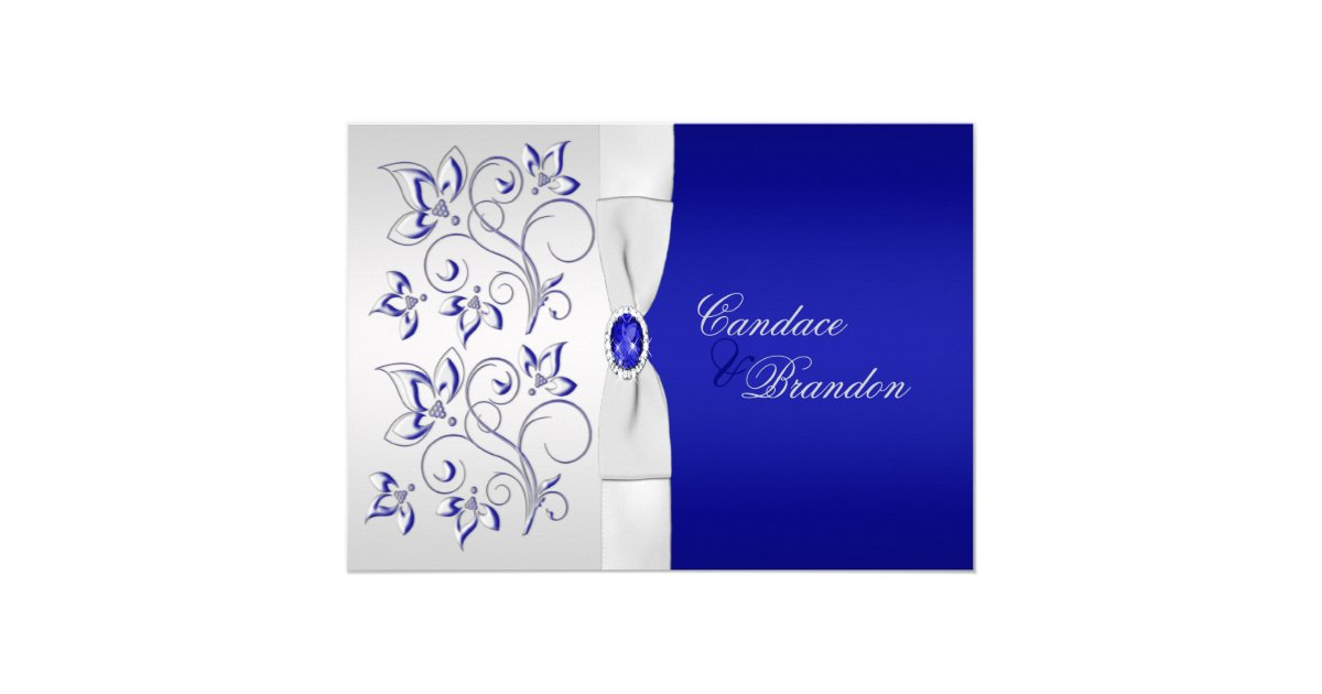 Wedding Invitations Royal Blue And Silver: Royal Blue And Silver Floral Wedding Invitation