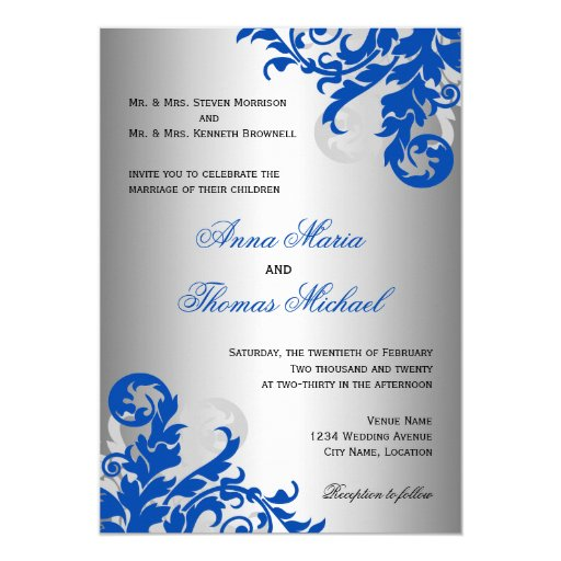 Royal Blue And Silver Wedding Ideas: Royal Blue And Silver Flourish Wedding 5x7 Paper