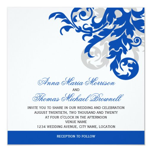 Wedding Invitations Blue And Silver: Royal Blue And Silver Flourish Wedding Invitation