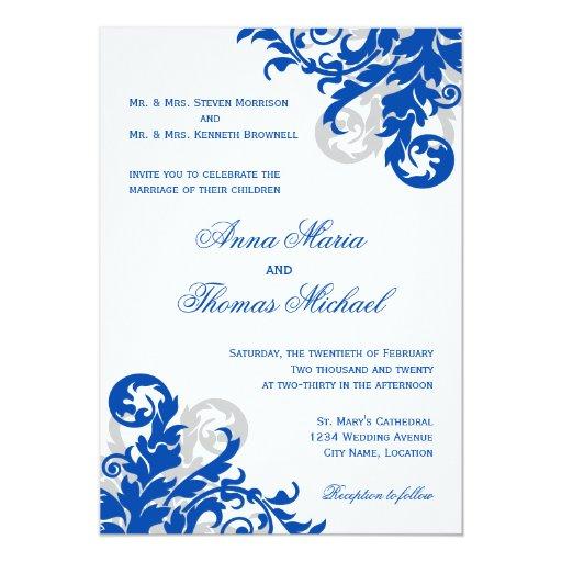 Royal Blue and Silver Flourish Wedding Invitation | Zazzle