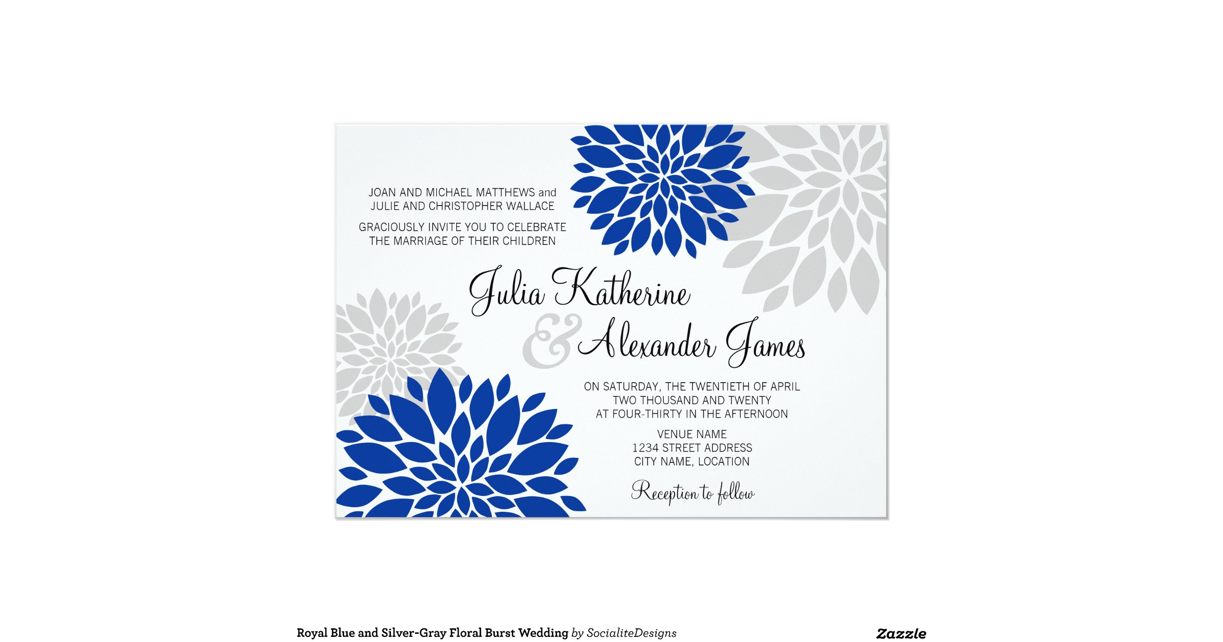 Wedding Invitations Royal Blue And Silver: Royal_blue_and_silver_gray_floral_burst_wedding_5x7_paper