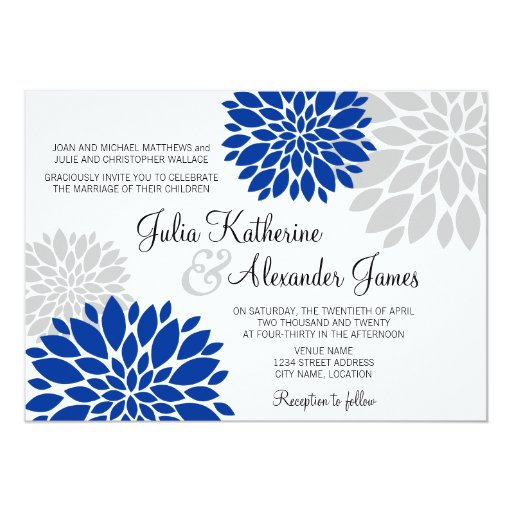 Royal Blue Wedding Invitation Cards: Royal Blue And Silver-Gray Floral Burst Wedding 5x7 Paper