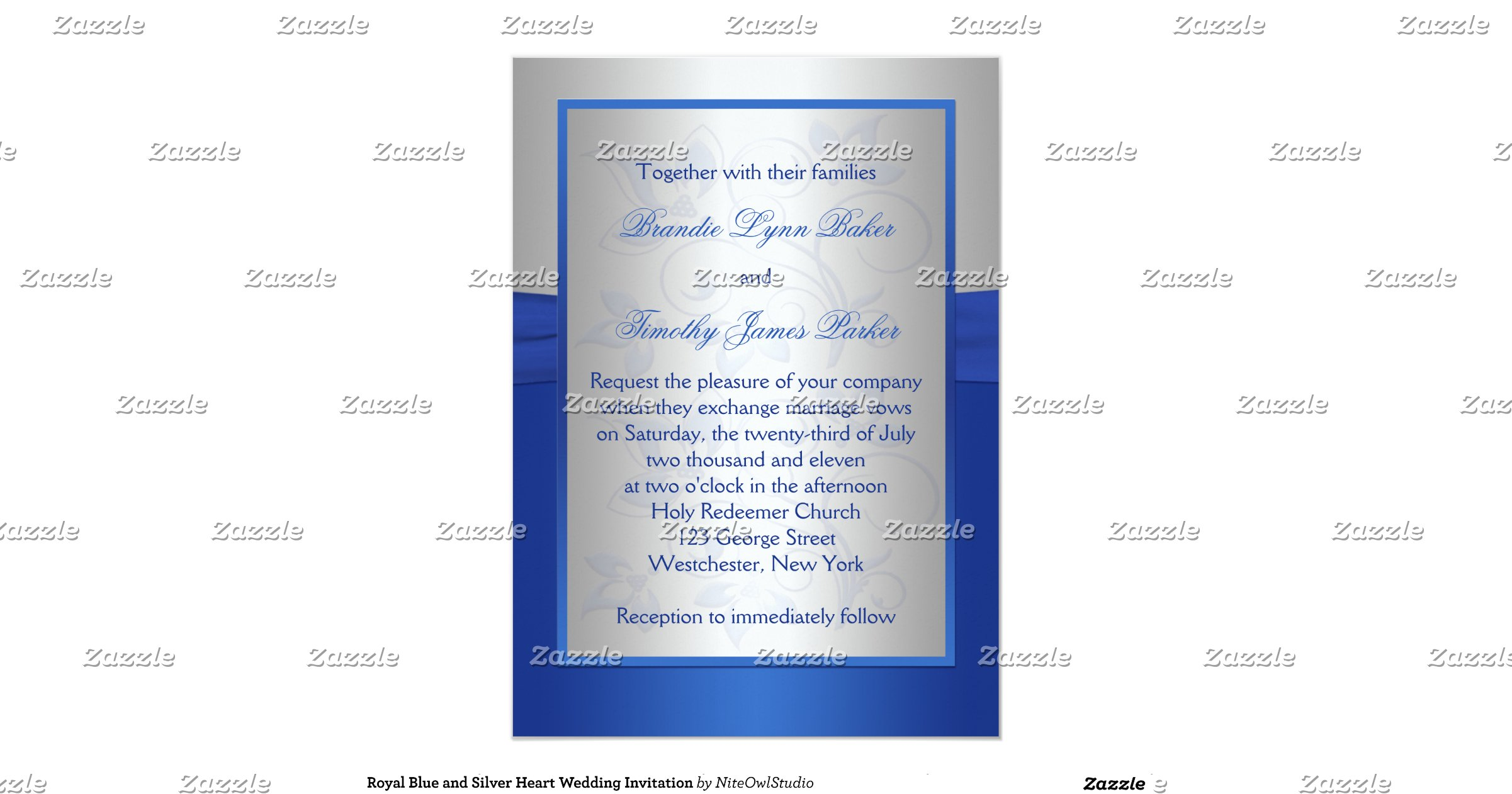 Wedding Invitations Royal Blue And Silver