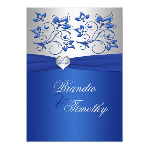 Wedding Invitations Blue And Silver: Royal Blue And Silver Heart Wedding Invitation