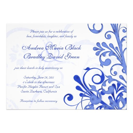 """Royal Blue And White Floral Wedding Invitation 5"""" X 7"""