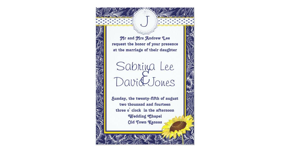 Blue And Yellow Wedding Invitations: Royal Blue And Yellow Sunflower Wedding Invitation