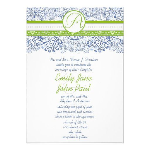 Apple Green Wedding Invitations: Royal Blue Apple Green Gray Love Birds Wedding 5x7 Paper