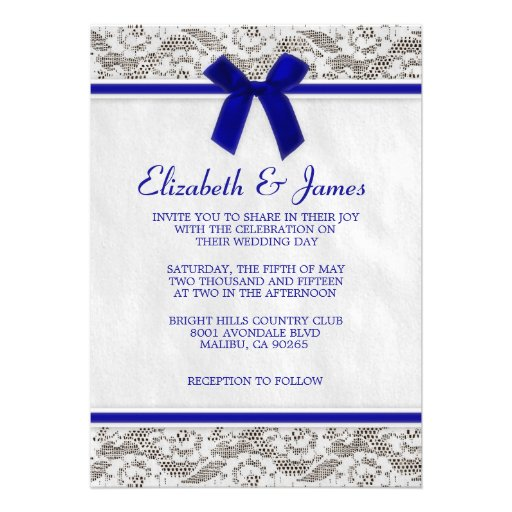 "Royal Blue Country Lace Wedding Invitations 5"" X 7"