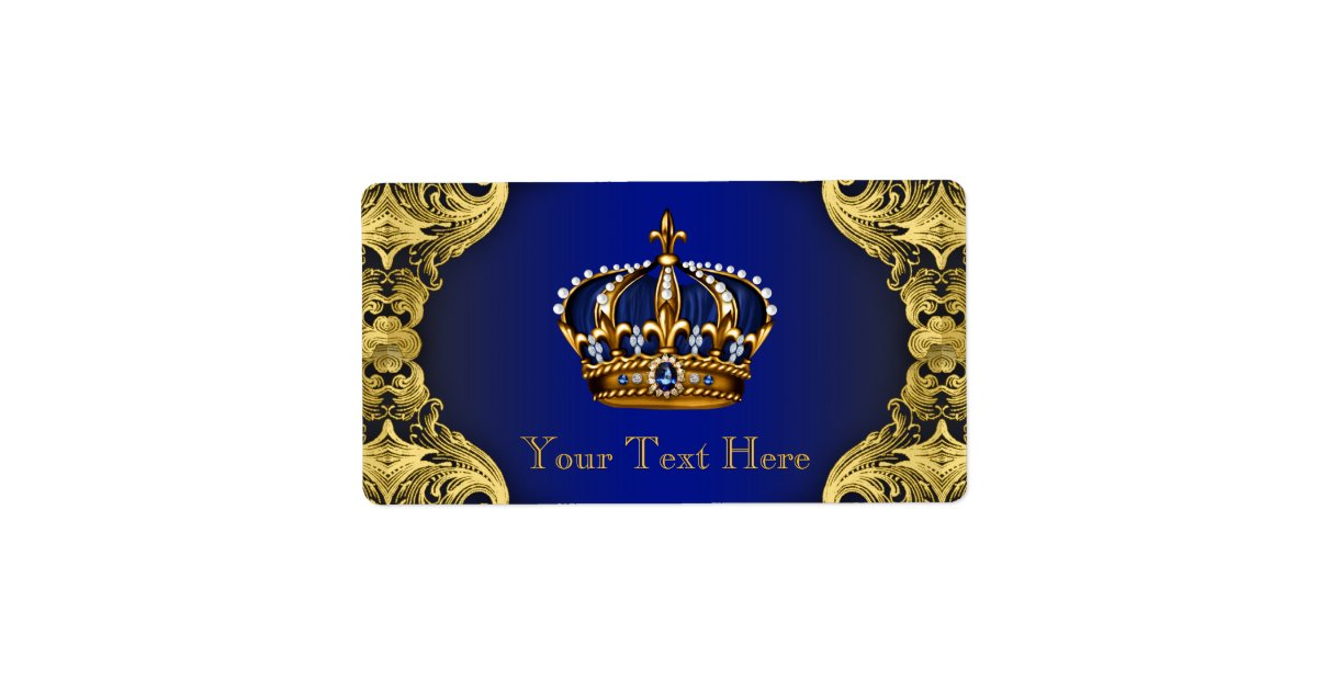 Royal Blue Gold Prince Baby Shower Water Bottle Label Zazzle