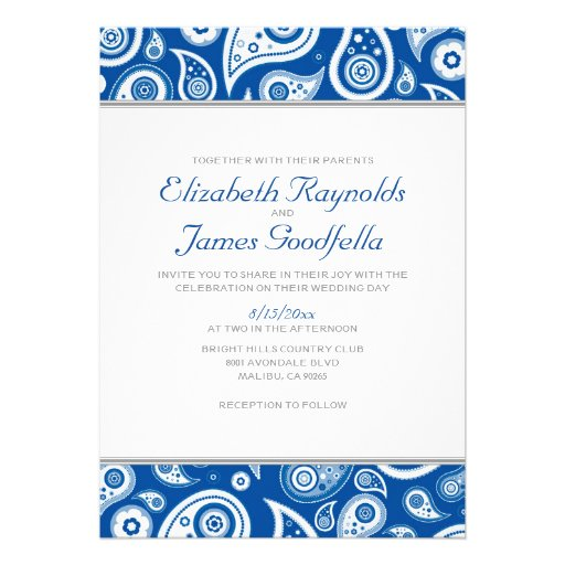 Personalized Royal Blue Wedding Invitations Custominvitations4u Com