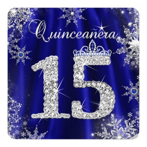 royal blue quinceanera 15th elite elegant birthday card zazzle. Black Bedroom Furniture Sets. Home Design Ideas