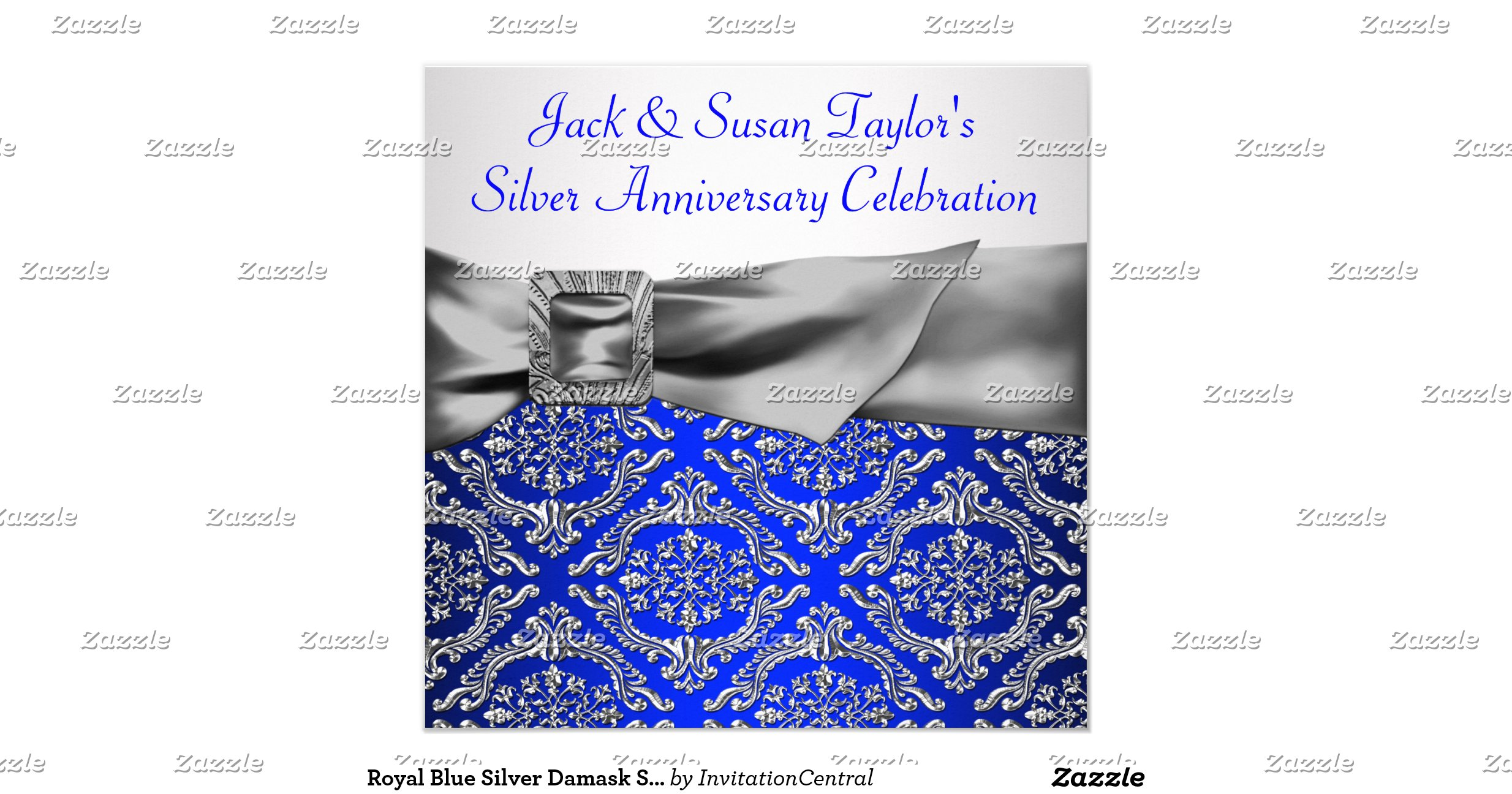 Wedding Invitations Royal Blue And Silver: Royal_blue_silver_damask_silver_25th_anniversary