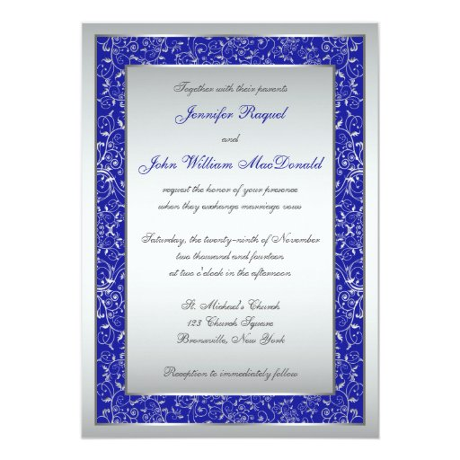 Royal Blue, Silver Ornate Scrolls Wedding Invite | Zazzle