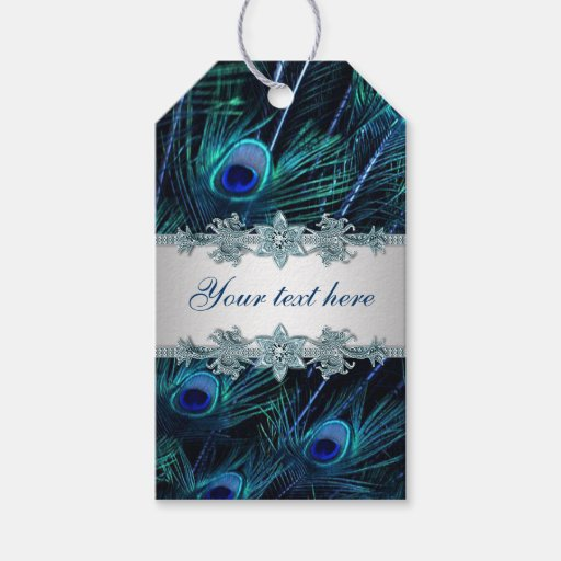 Silver Wedding Gifts Ideas: Royal Blue Silver Peacock Wedding Gift Tags