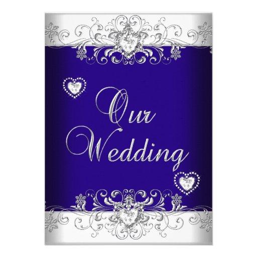 Wedding Invitations Blue And Silver: Royal Blue Wedding Silver Diamond Hearts 2 4.5x6.25 Paper