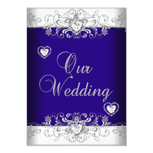 Royal Blue And Silver Wedding Ideas: Royal Blue Wedding Silver Diamond Hearts 2a 4.5x6.25 Paper