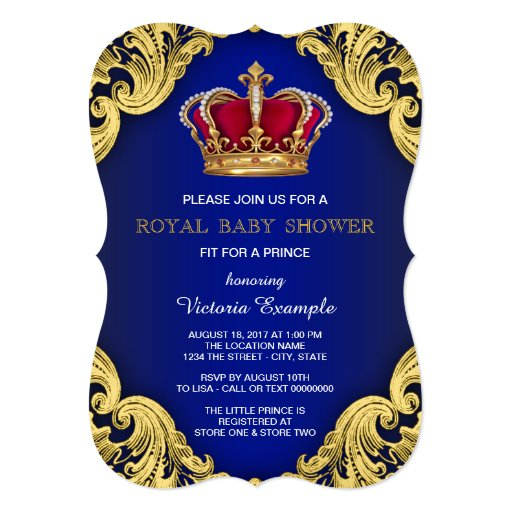 Royal Fancy Prince Baby Shower 5x7 Paper Invitation Card