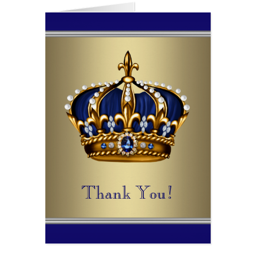 Royal Navy Blue Gold Crown Thank You Cards
