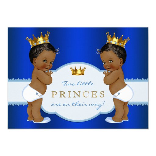 Royal Prince Twin African American Baby Shower Card