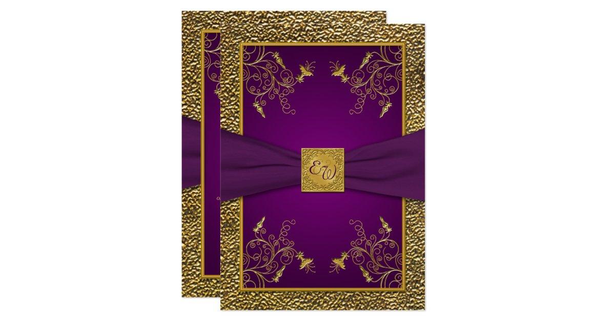 Royal Purple And Gold Monogram Wedding Invitation Zazzle