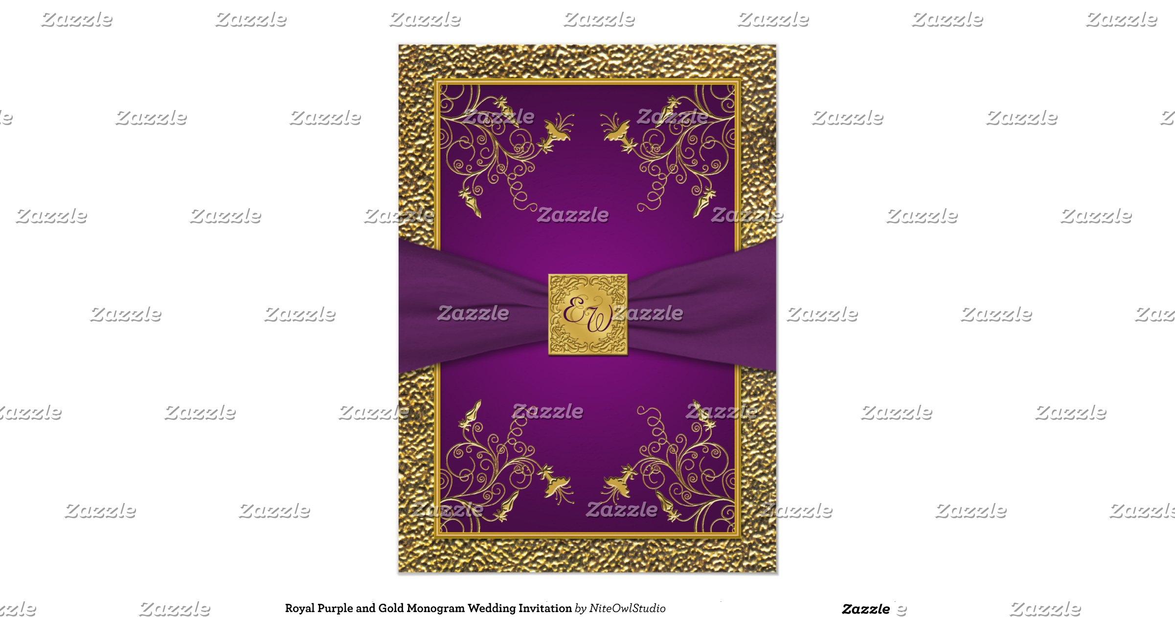 Royal Blue And Gold Wedding Invitations: Royal_purple_and_gold_monogram_wedding_invitation