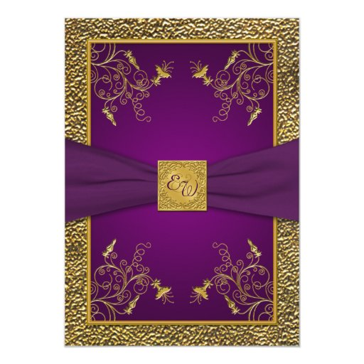 Gold And Purple Wedding Invitations: Royal Purple And Gold Monogram Wedding Invitation