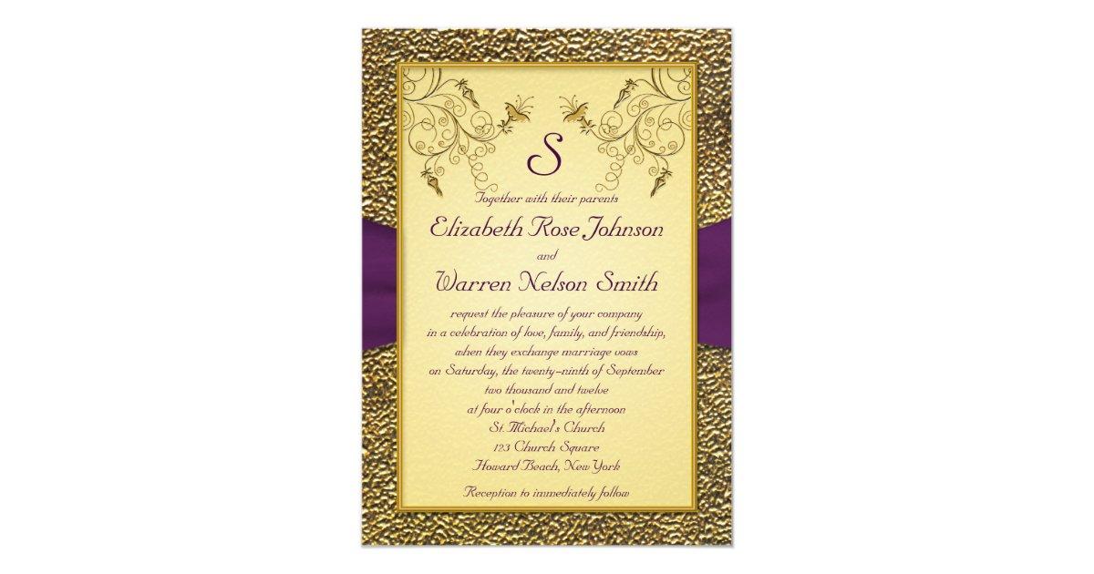 Purple And Gold Wedding Invitations: Royal Purple And Gold Monogram Wedding Invitation