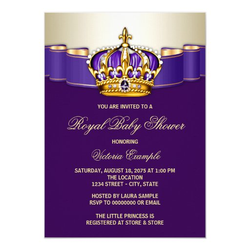 Royal Purple Gold Princess Baby Shower Card Zazzle