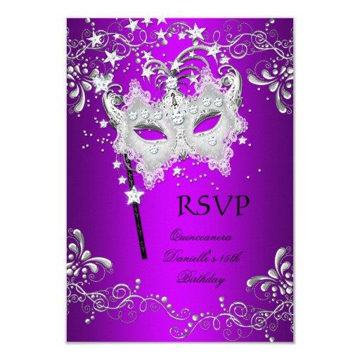 rsvp purple quinceanera 15th birthday masquerade card  zazzle