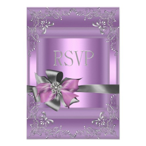 """RSVP Reply Party 21st Lilac Pink Silver Grey 3.5"""" X 5"""