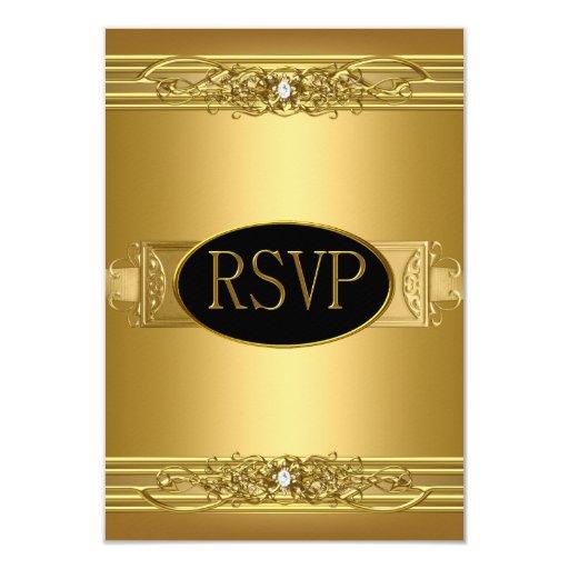 RSVP Reply Response Birthday Party Gold Diamond 3.5x5