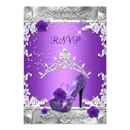 RSVP Reply Response Birthday Party Purple Silver Custom