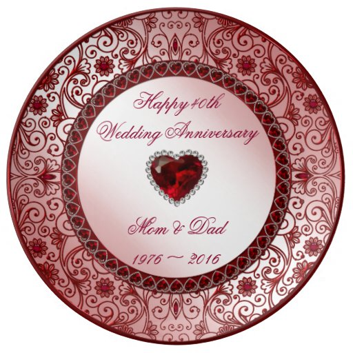 Unusual Ruby Wedding Gifts: Ruby 40th Wedding Anniversary Porcelain Plate