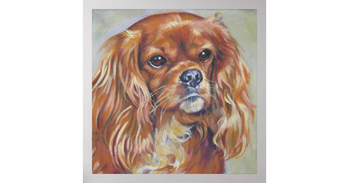 Ruby Cavalier King Charles Spaniel Art Print Zazzle