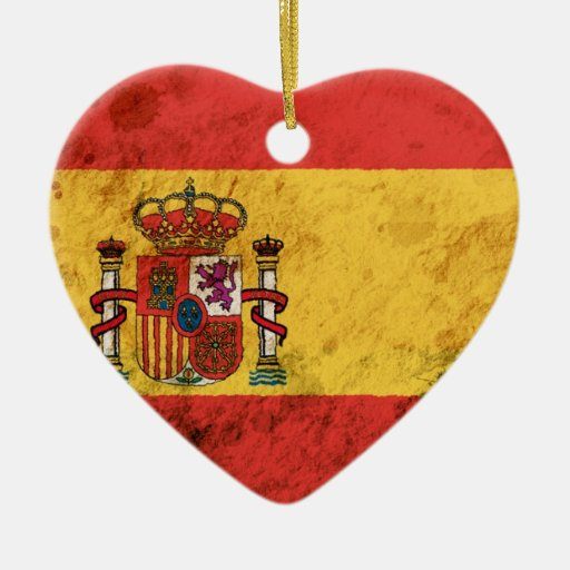 Rugged Spanish Flag Double-Sided Heart Ceramic Christmas ...